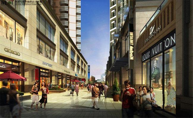 层层叠叠,高低错落,形成风景的同时围合成一个对商业街开敞的开放性