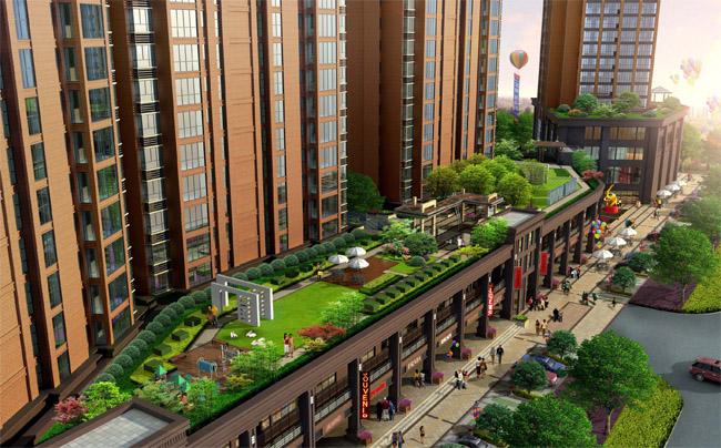 屋顶花园及商业街鸟瞰图